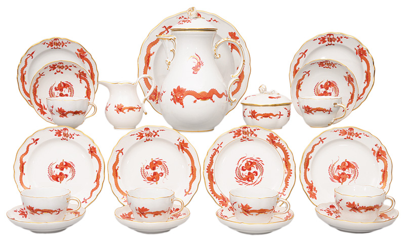 "A coffee service ""Red dragon"" for 6 persons"