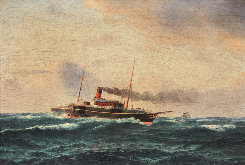 Paddle Steamer on open Sea