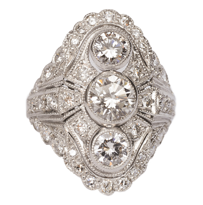 A fine diamond ring in the style of Art-Nouveau