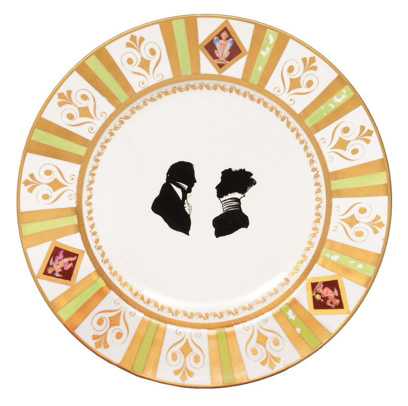 An Empire plate with the silhouette-portraits