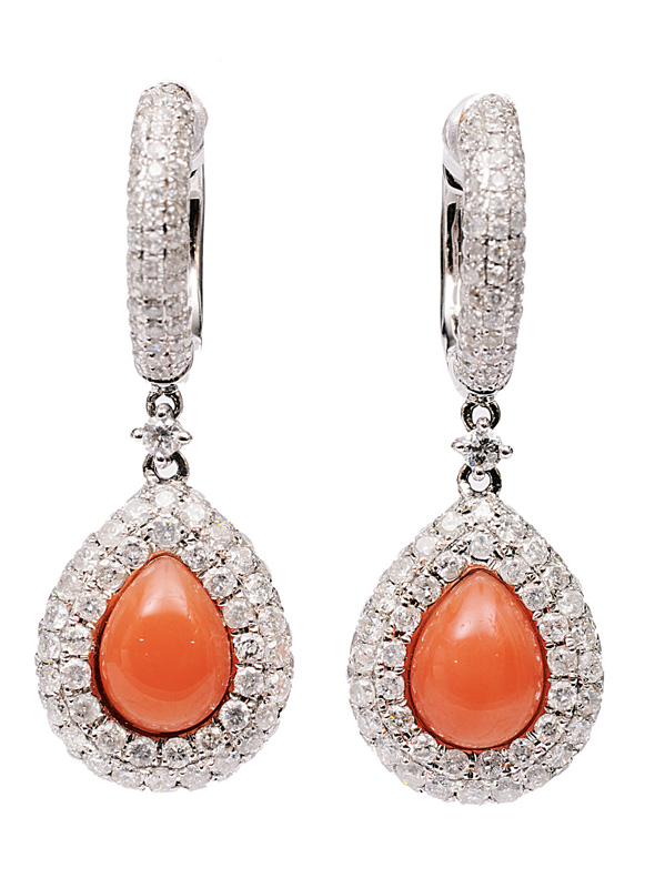 A pair of coral diamond earpendants