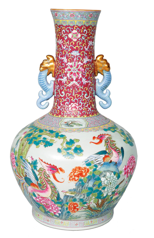 A tall vase with phoenix-birds and peonies