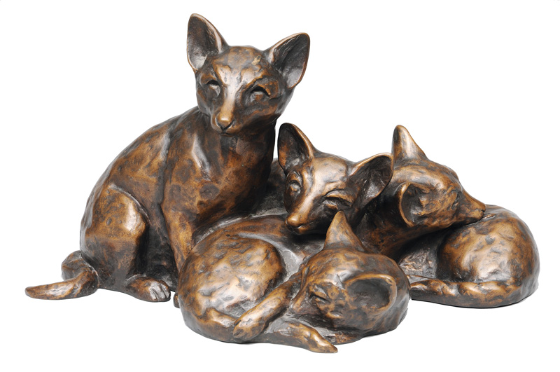 "A bronze figure ""Group of young foxes"""