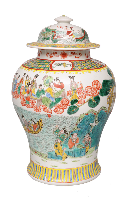 A tall Famille-Verte cover-vase with Taoist deities