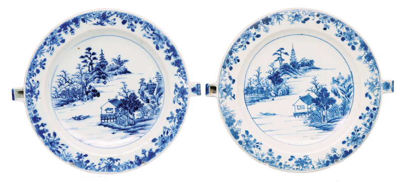 A pair of warming dishes with landscape painting