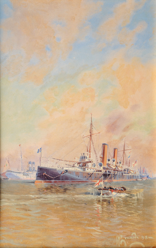 English Man-of-War anchored in the Roadstead