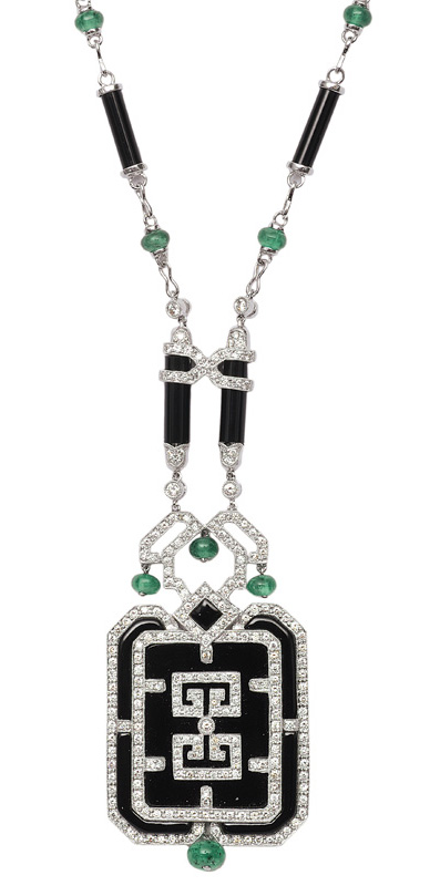 A diamond emerald necklace with black agate