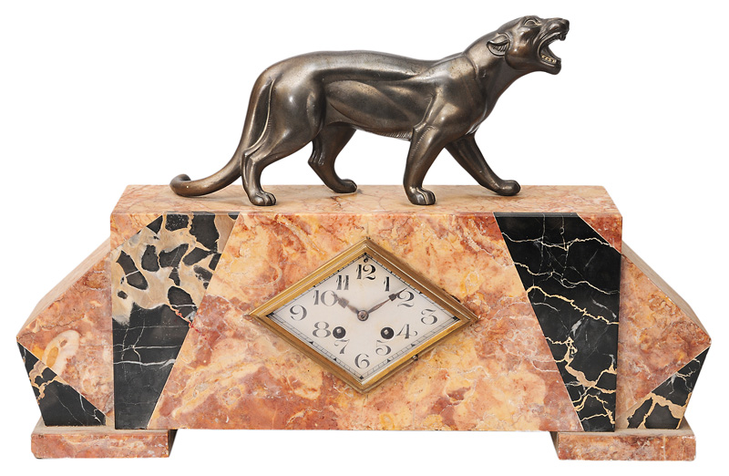 An Art Deco mantle clock with figure of panther