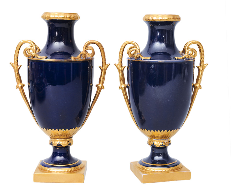 A pair of cobalt-blue amphora-vases