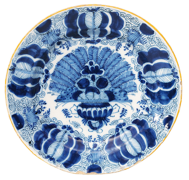 A plate with peacock decor