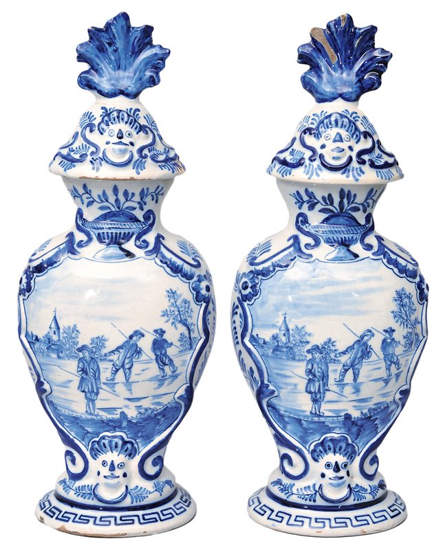 A pair of chimney vases