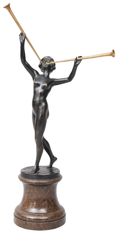 "A bronze figure ""Oriental female nude, wait-pipe playing"""