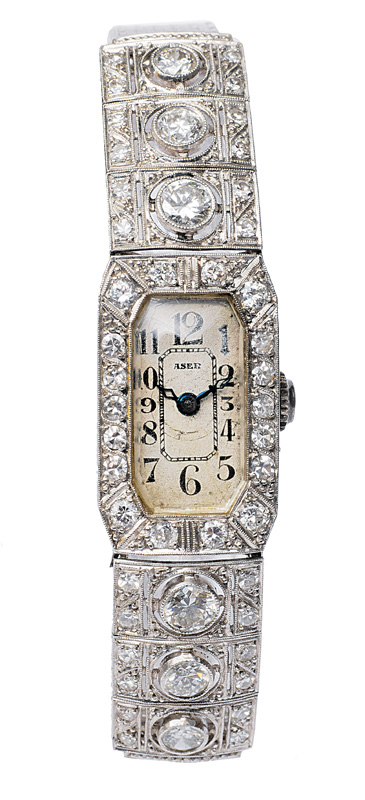 An Art Deco ladies watch with diamonds