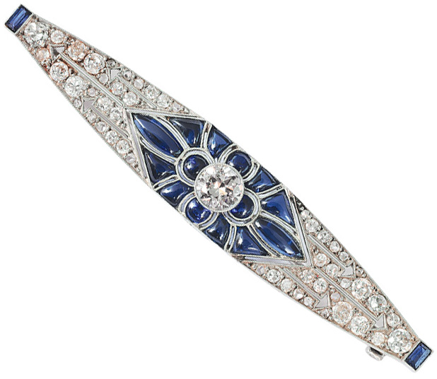 An Art-déco brooch with sapphires and diamonds