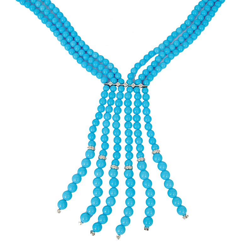 A turquoise necklace with diamonds