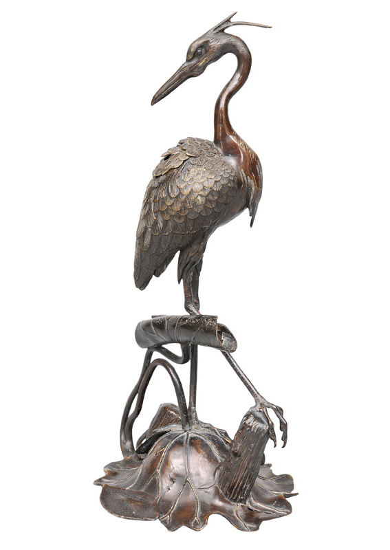 "A bronze figurine ""Heron on a lotus"""