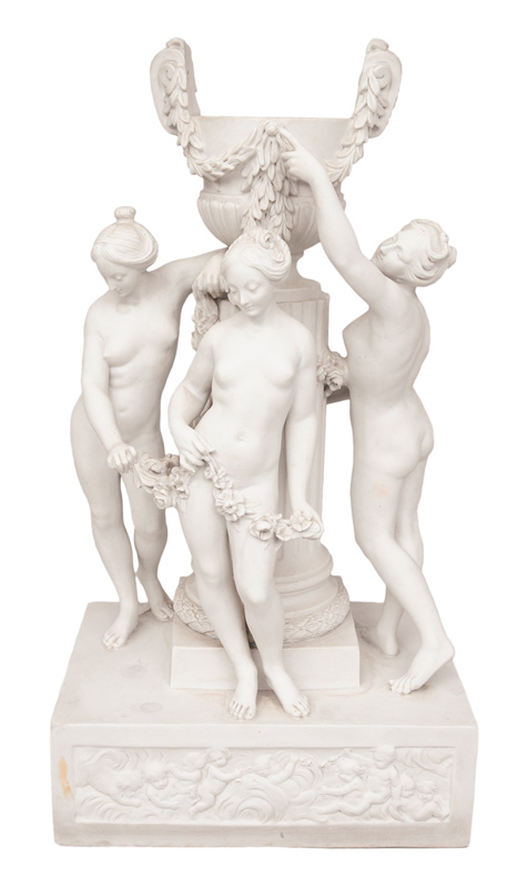 "A tall bisque porcelain-group ""The 3 graces"""