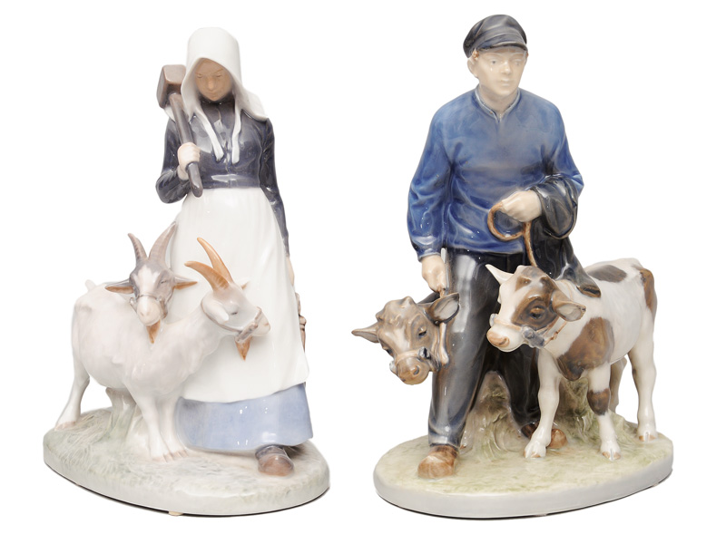"Two figurines ""Farmgirl with goats"" and ""Farmboy with calfs"""