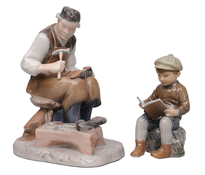 "Two figurines ""Shoemaker"" and ""Reading boy"""