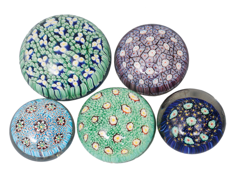 A set of five millefiori paperweights of Murano Design