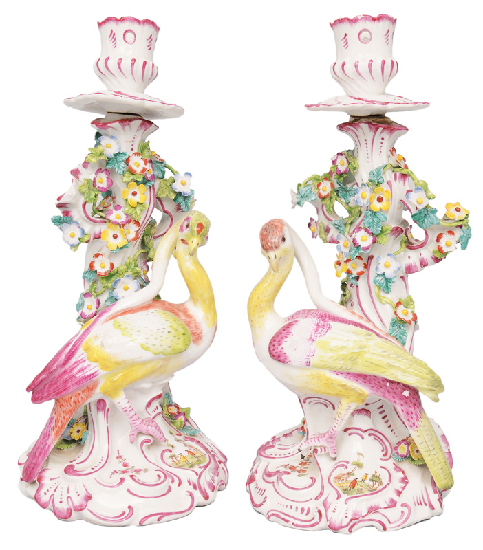 A pair of bird-candlesticks