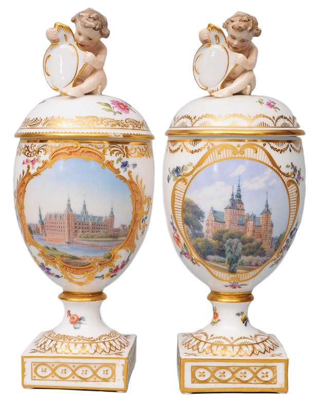 A pair of cover vases with vedutas of Danish palaces