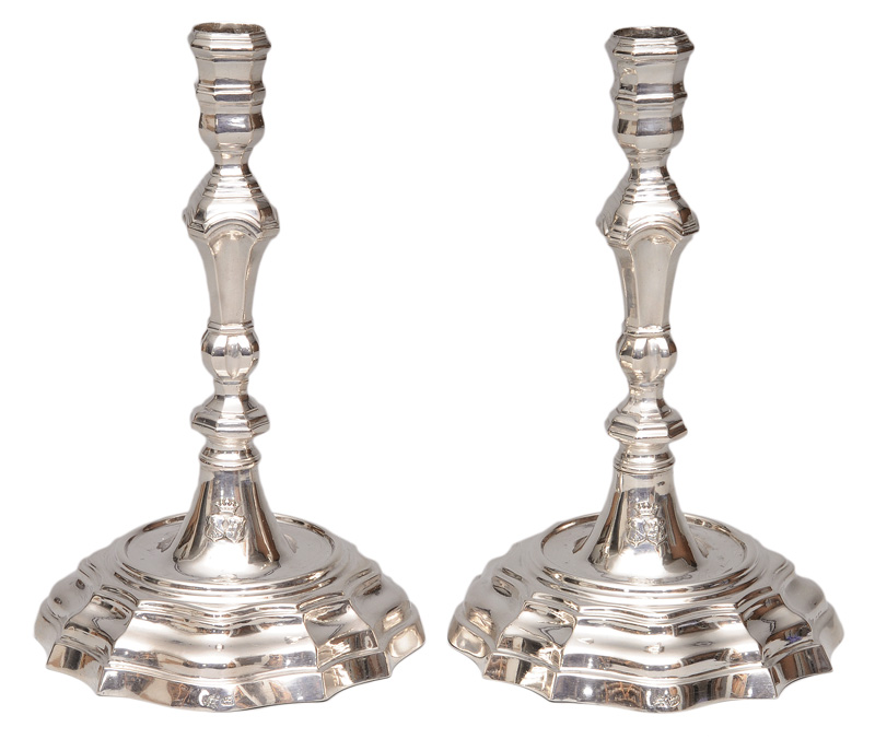 A pair of Baroque candle holders
