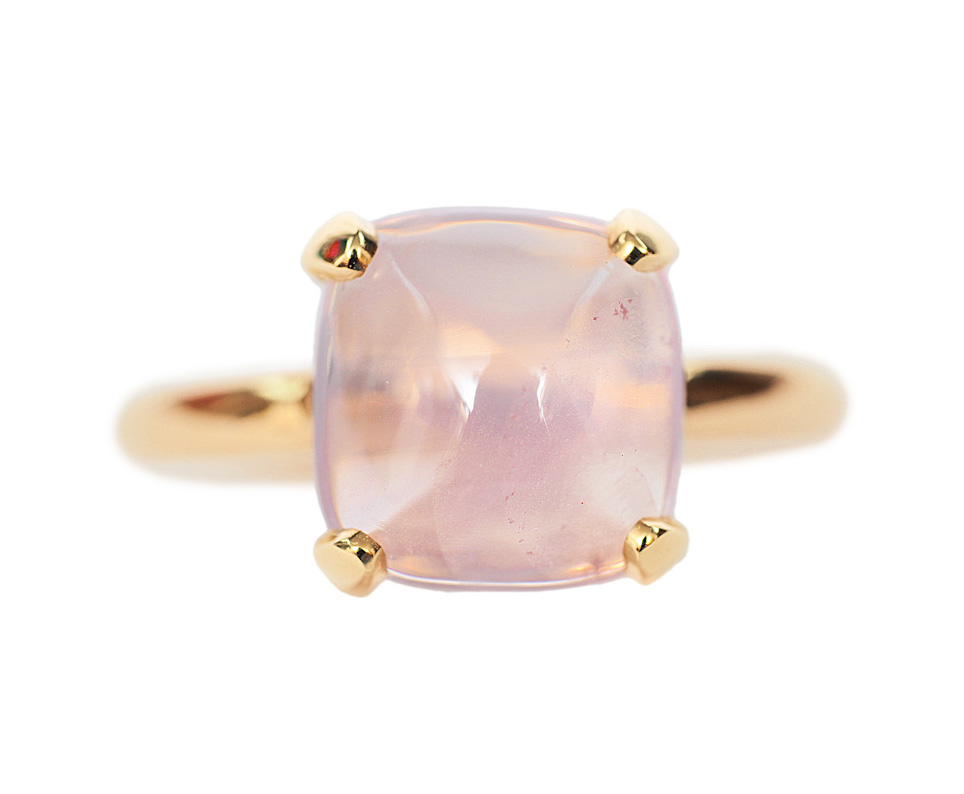 A rose quartz ring