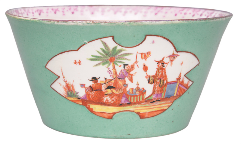 An exceptional bowl with turquoise underground and chinoiseries