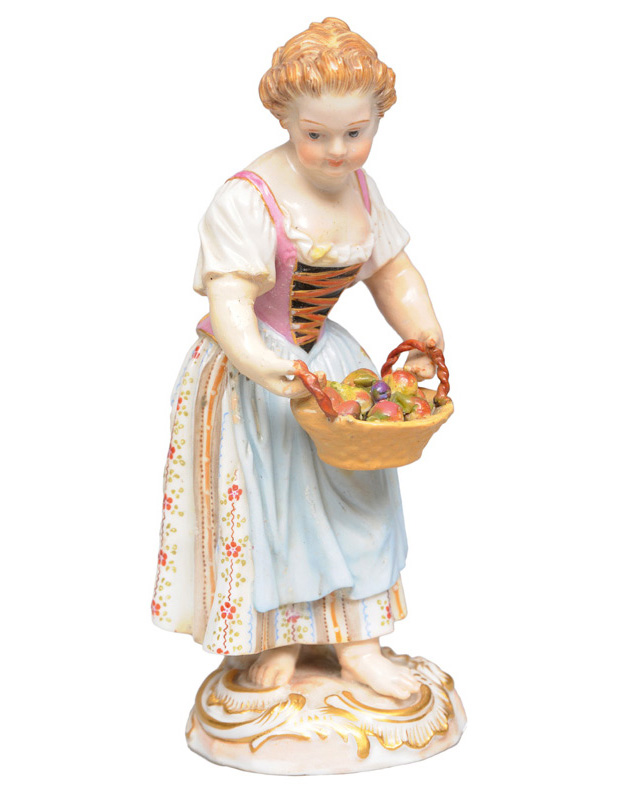 "A gardener""s child with fruit basket"