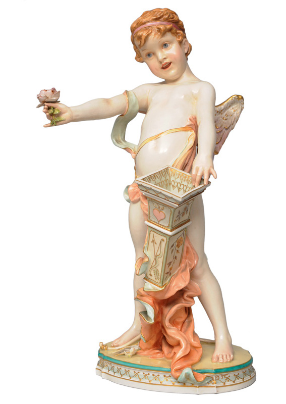 "A tall figurine ""Cupid with rose"""