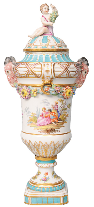 A cover vase with aries heads and Watteau scenes