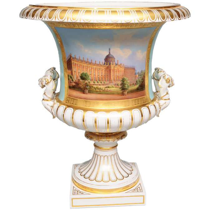 "An important krater vase with a view of the ""Neues Palais"""