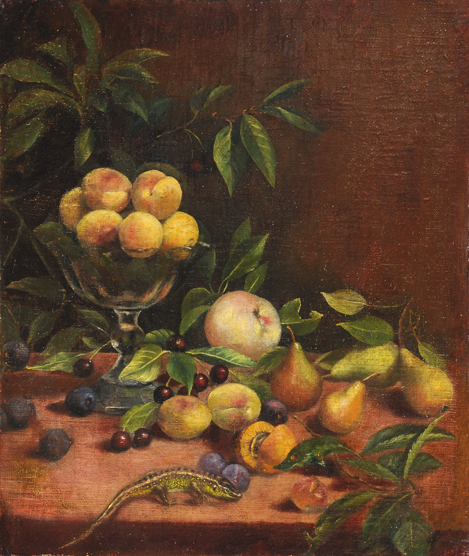 Still Life with Fruits and Lizard