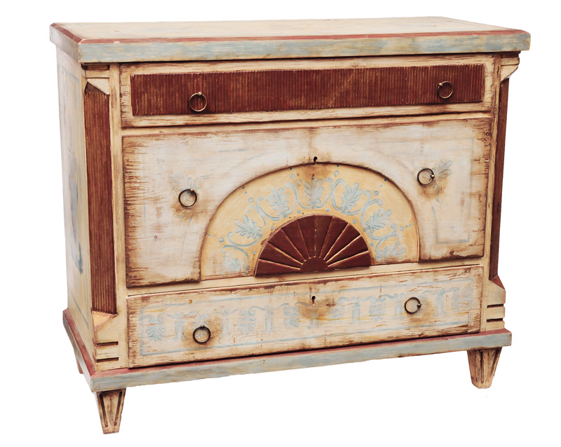 A pair of chest of drawers with antique-like painting