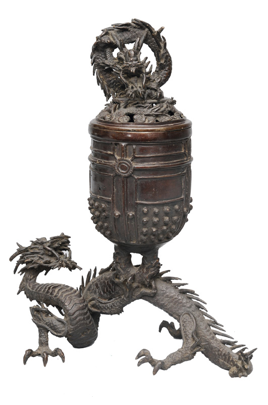 A censer with dragon and temple bell