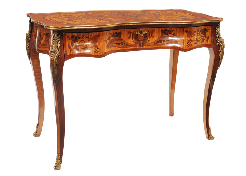 An elegant ladies bureau plat with floral marquetry