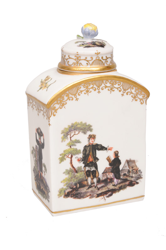 "A tea caddy with miner""s scenes"