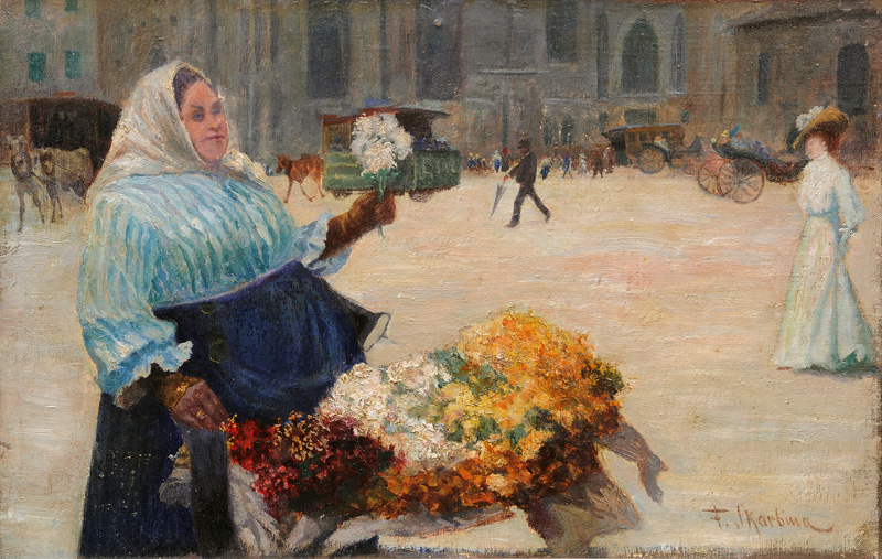 Market-Woman selling Flowers in Berlin