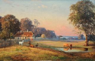 Summer Landscape with Stags in a Deer-Park with View on the Baltic Sea