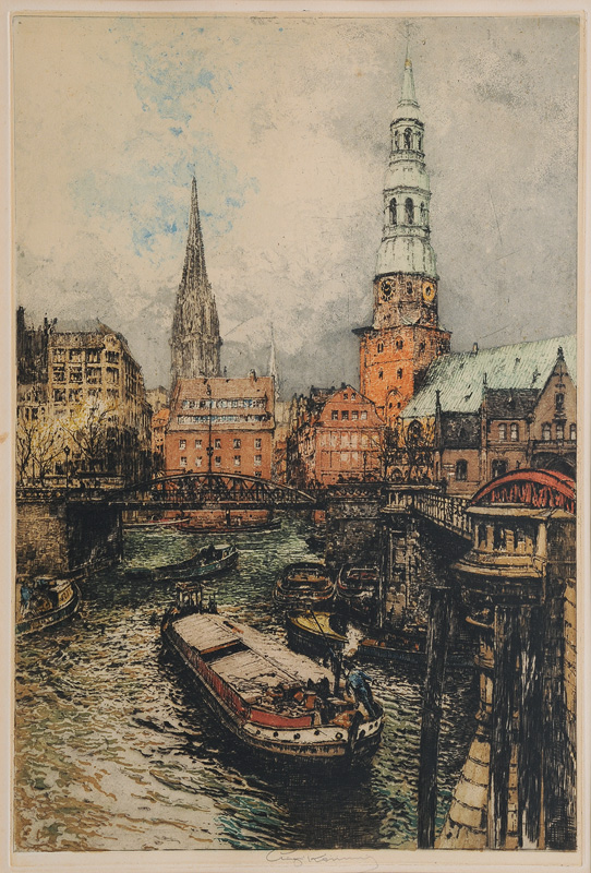 "Hamburg Town Canal with St. Catherines and St. Niclas"" Church"