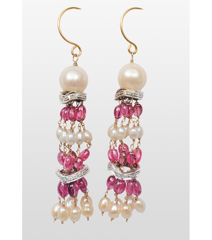 A pair of pearl ruby earpendants