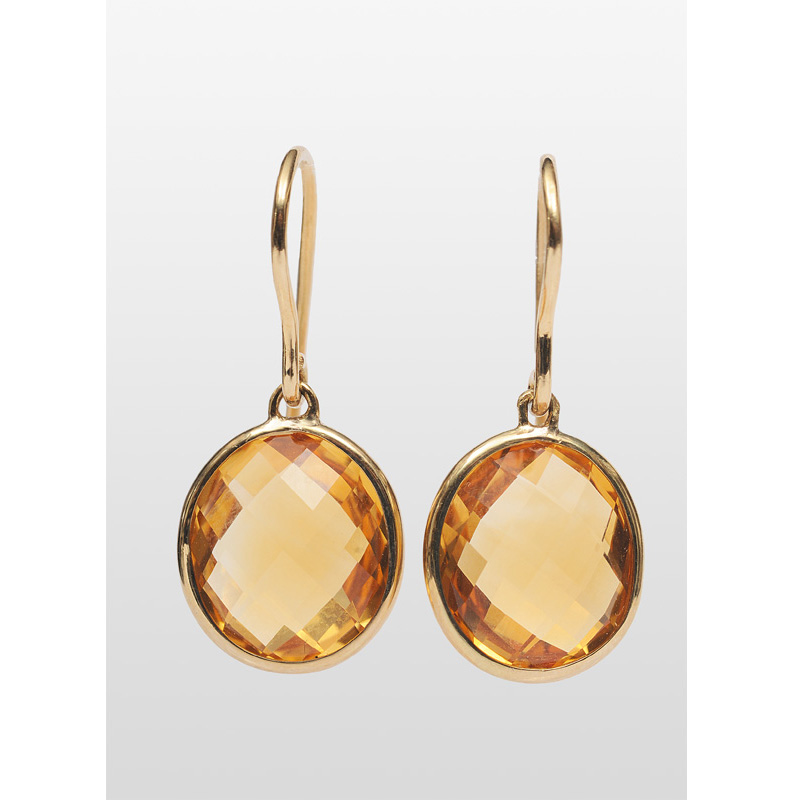 A pair of citrine earpendants