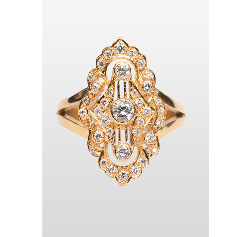 A diamond ring in the style of Art-Nouveau