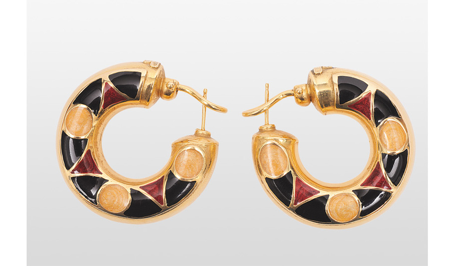A pair of golden earrings with enamel ornaments by Wempe