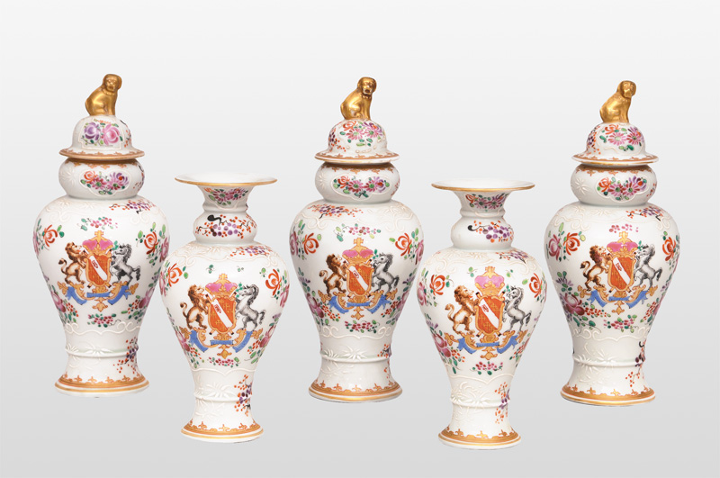 A set of 5 armorial vases