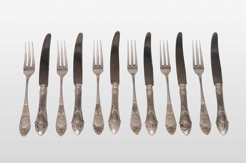 A dessert cutlery in the style of Louis Seize for 12 persons