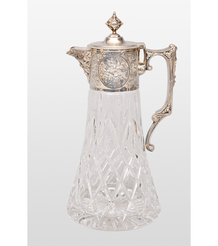 A glass jug with Silver - Miscellaneous - Bronzes mounting