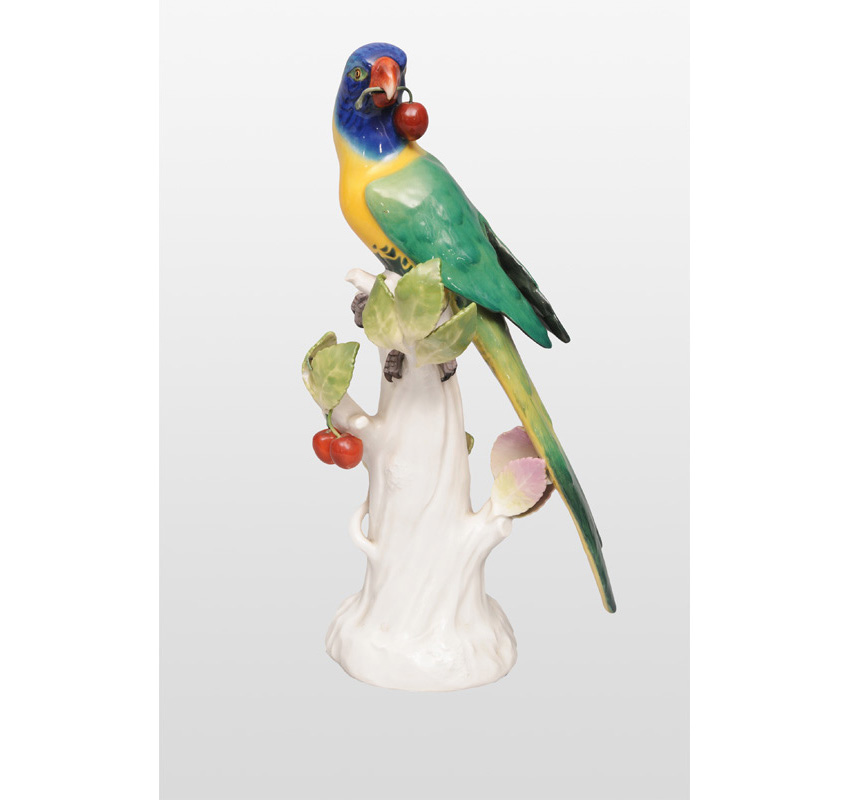 "An animal figurine ""Parrot with cherries"""