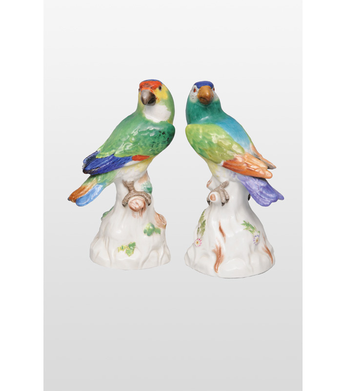 "Two animal figurines ""Parrots"""